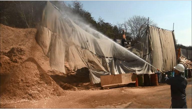 木材加工センターでの粉塵抑制
