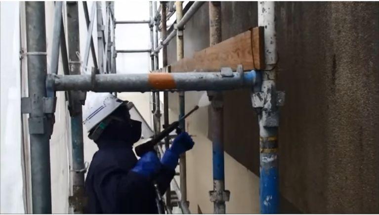 圧力指定外壁洗浄の洗浄テスト