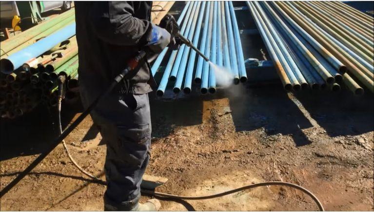 土木工事用仮設配管の洗浄