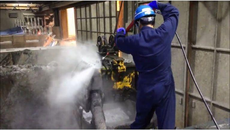 産業廃棄物処理場での洗浄
